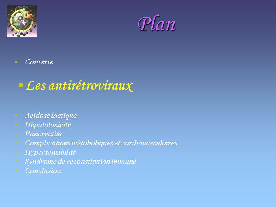 Plan Les antirétroviraux Contexte Acidose lactique Hépatotoxicité