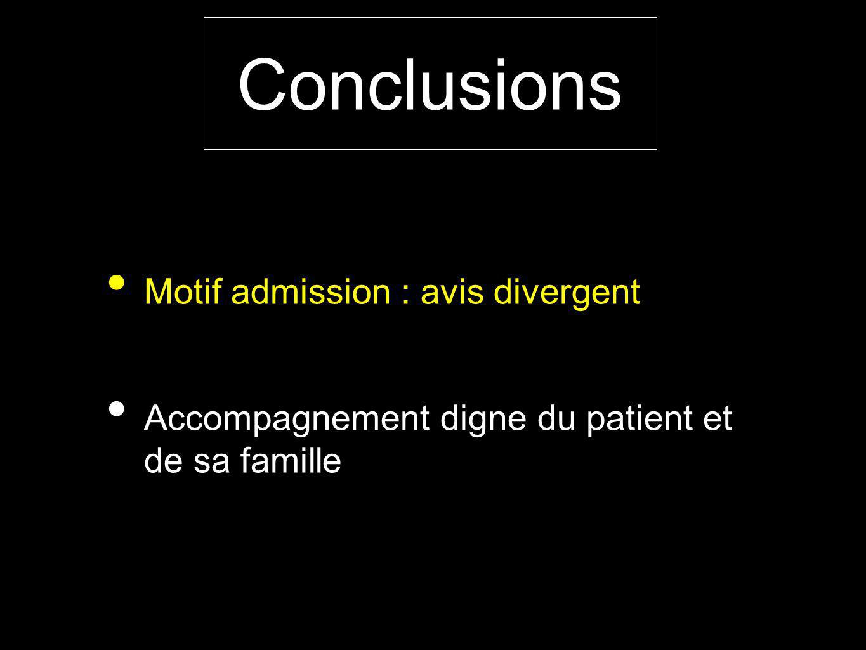 Conclusions Motif admission : avis divergent
