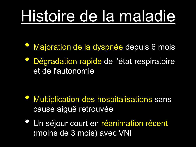 Histoire de la maladie Majoration de la dyspnée depuis 6 mois