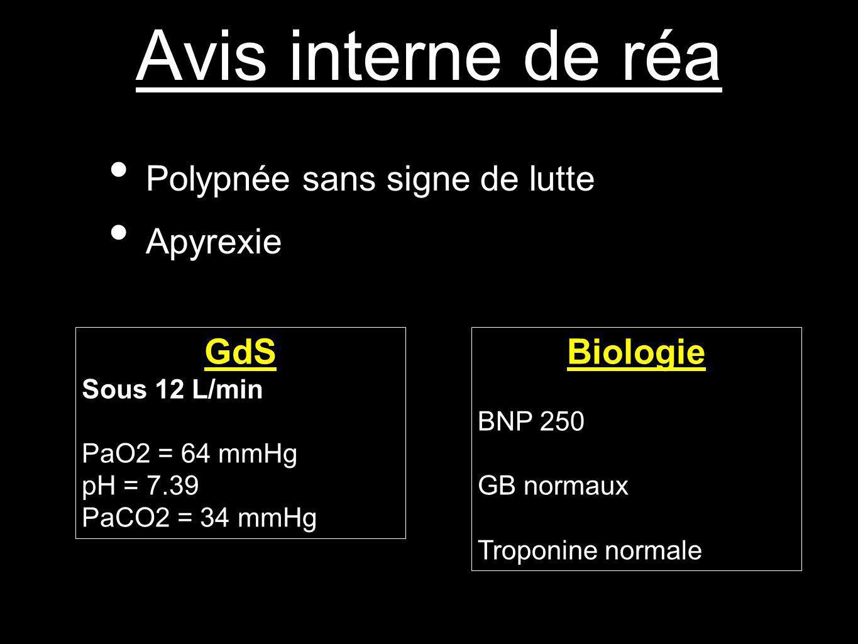 Avis interne de réa Polypnée sans signe de lutte Apyrexie GdS Biologie