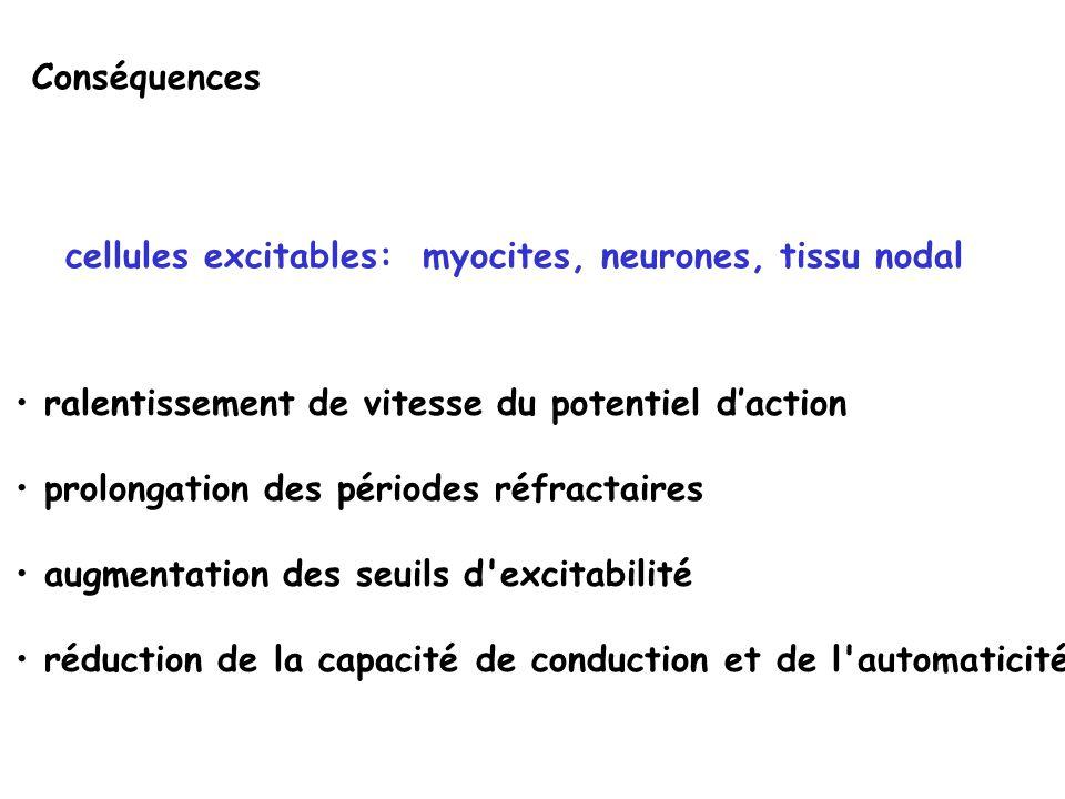 Conséquences cellules excitables: myocites, neurones, tissu nodal. ralentissement de vitesse du potentiel d'action.