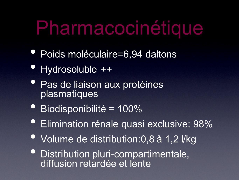 Pharmacocinétique Poids moléculaire=6,94 daltons Hydrosoluble ++