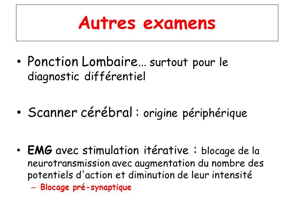 Autres examens Ponction Lombaire… surtout pour le diagnostic différentiel. Scanner cérébral : origine périphérique.