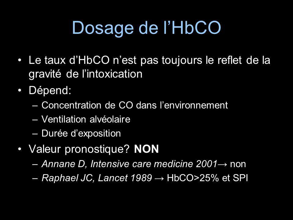 Dosage de l'HbCO Le taux d'HbCO n'est pas toujours le reflet de la gravité de l'intoxication. Dépend: