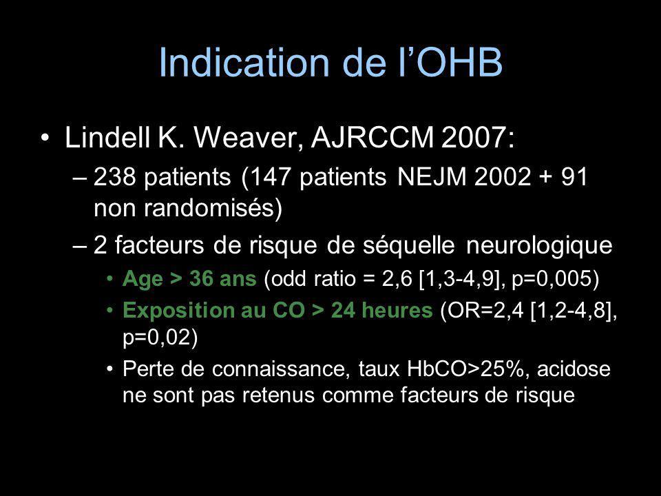 Indication de l'OHB Lindell K. Weaver, AJRCCM 2007: