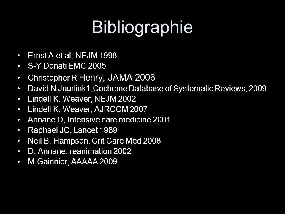 Bibliographie Ernst A et al, NEJM 1998 S-Y Donati EMC 2005