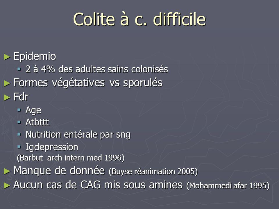 Colite à c. difficile Epidemio Formes végétatives vs sporulés Fdr