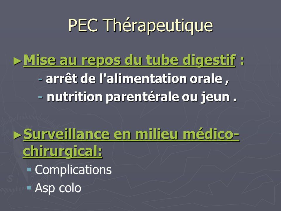PEC Thérapeutique Mise au repos du tube digestif :