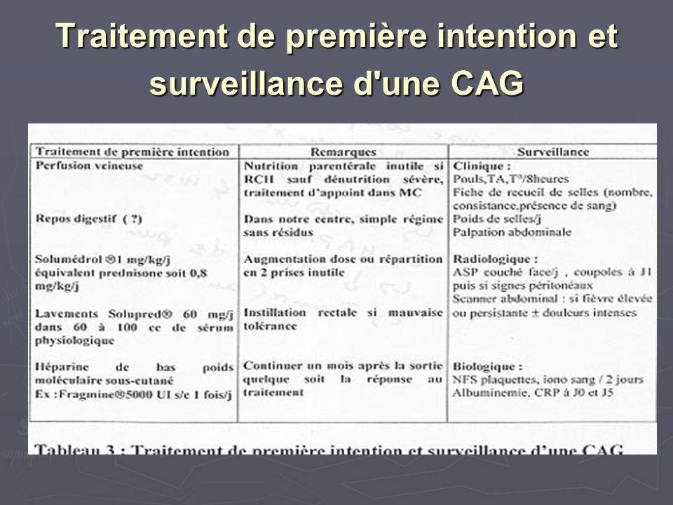 Traitement de première intention et surveillance d une CAG