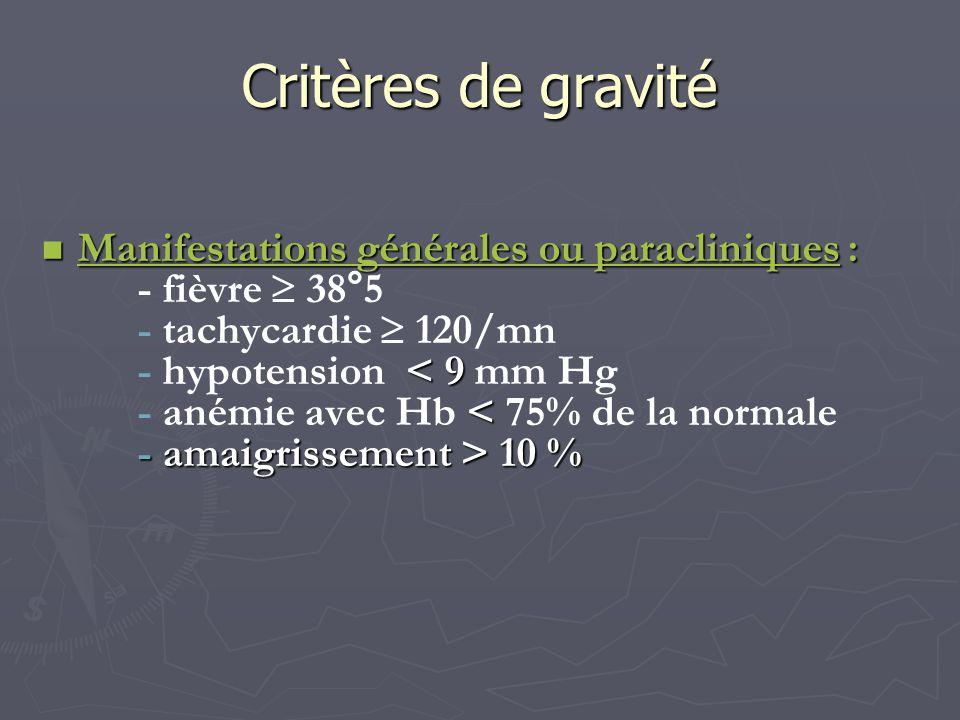 Critères de gravité Manifestations générales ou paracliniques :
