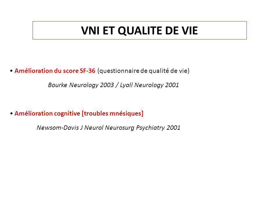 VNI ET QUALITE DE VIE • Amélioration du score SF-36 (questionnaire de qualité de vie) Bourke Neurology 2003 / Lyall Neurology 2001.