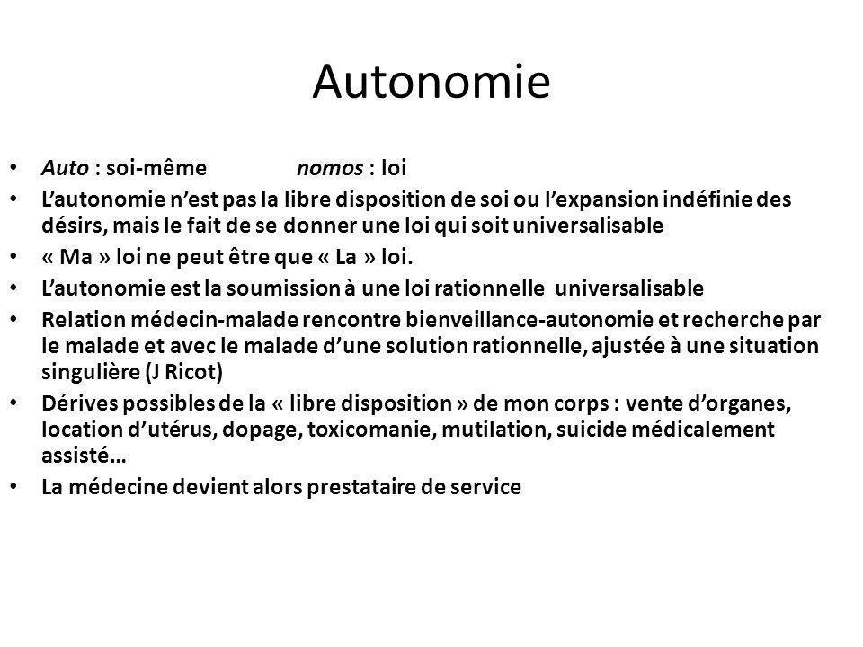 Autonomie Auto : soi-même nomos : loi