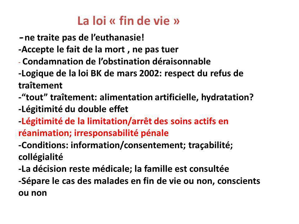 La loi « fin de vie » -ne traite pas de l'euthanasie!