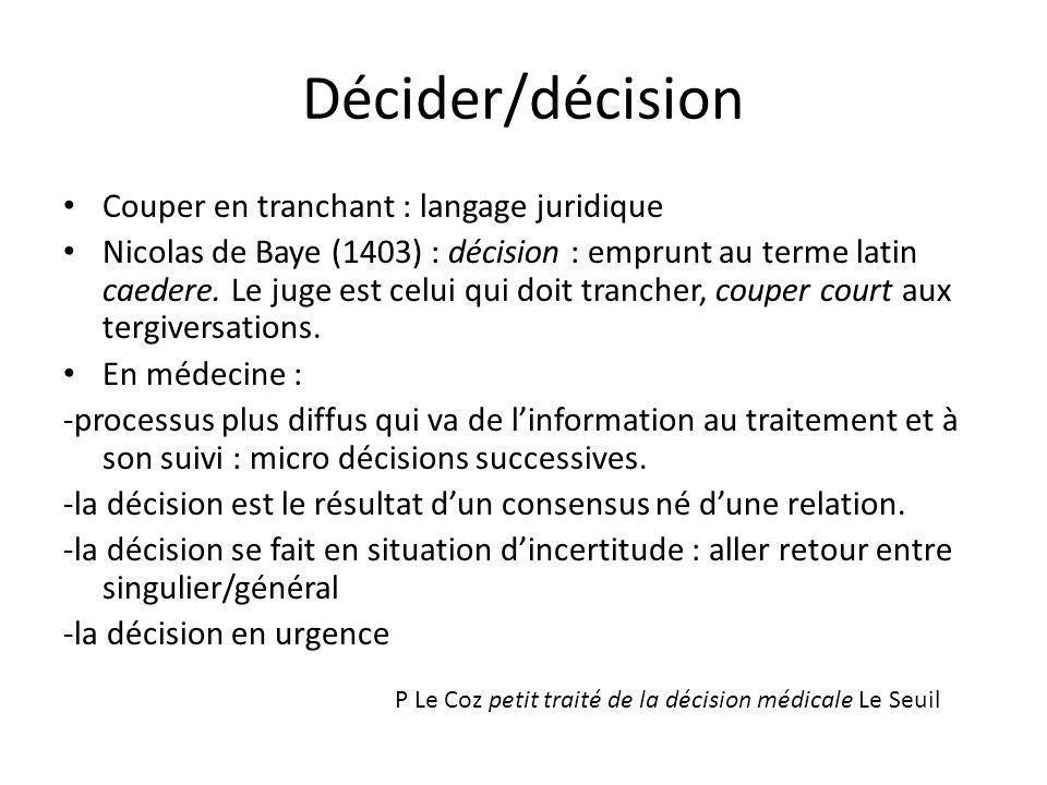 Décider/décision Couper en tranchant : langage juridique