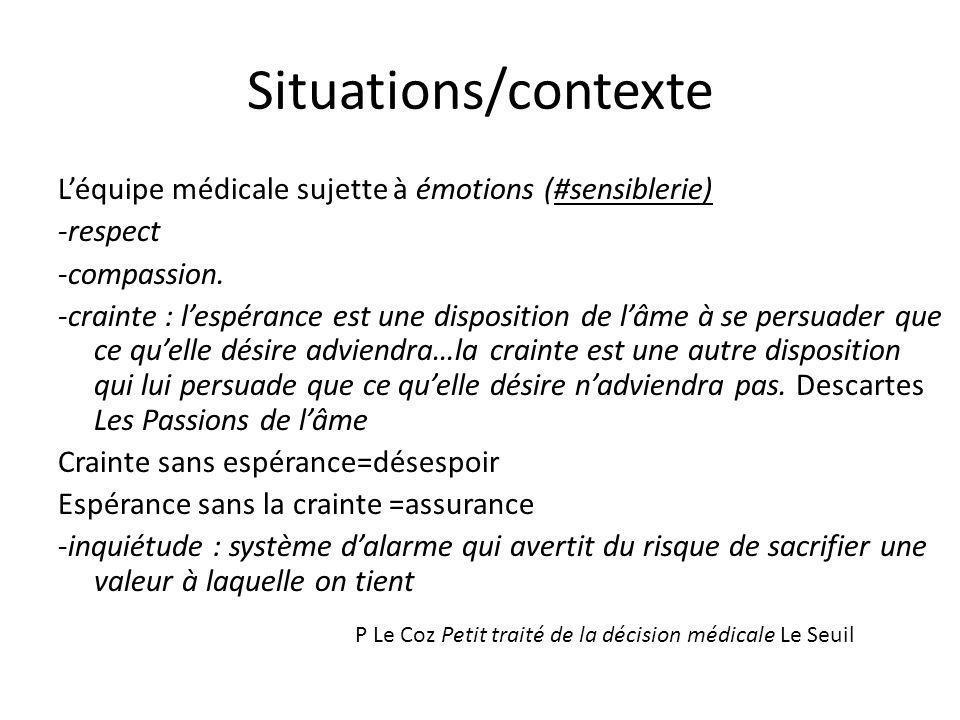 Situations/contexte L'équipe médicale sujette à émotions (#sensiblerie) -respect. -compassion.
