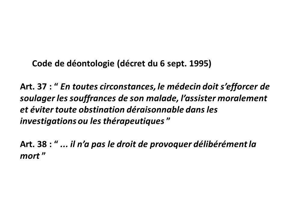 Code de déontologie (décret du 6 sept. 1995)