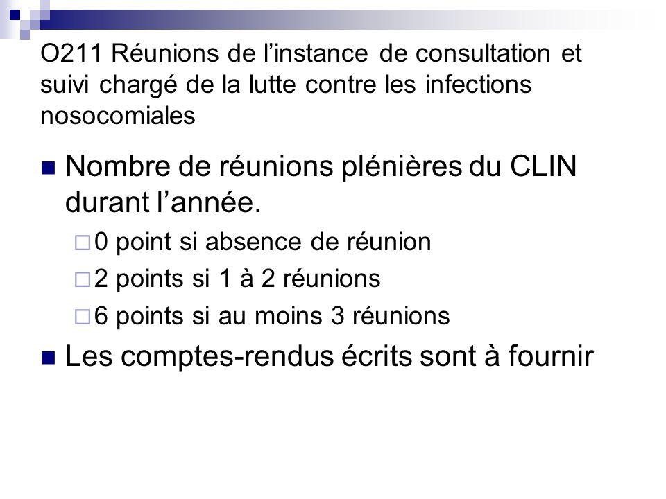 Nombre de réunions plénières du CLIN durant l'année.