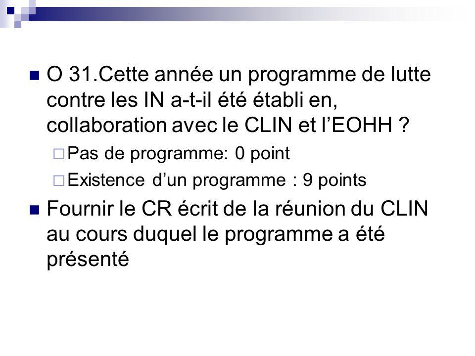 O 31.Cette année un programme de lutte contre les IN a-t-il été établi en, collaboration avec le CLIN et l'EOHH