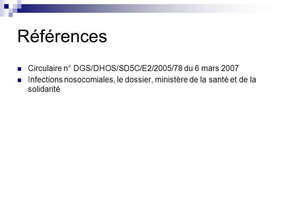 Références Circulaire n° DGS/DHOS/SD5C/E2/2005/78 du 6 mars 2007