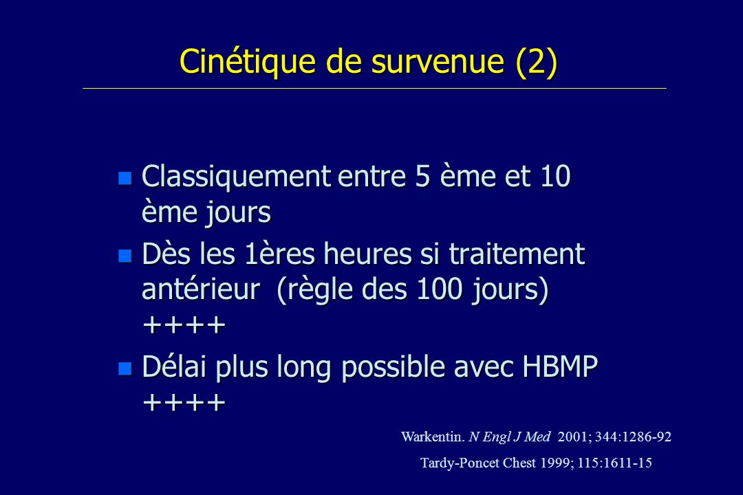 Cinétique de survenue (2)