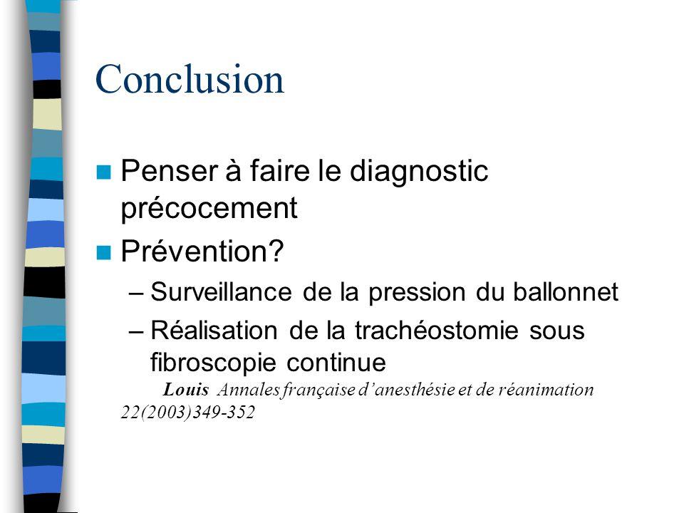 Conclusion Penser à faire le diagnostic précocement Prévention