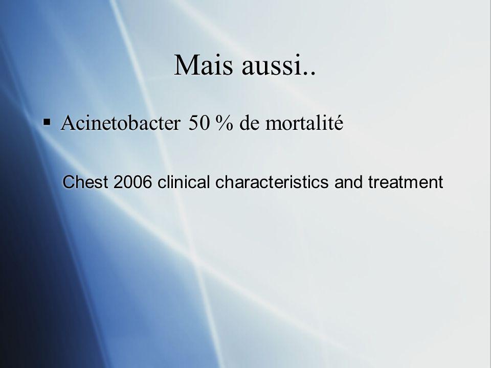 Mais aussi.. Acinetobacter 50 % de mortalité
