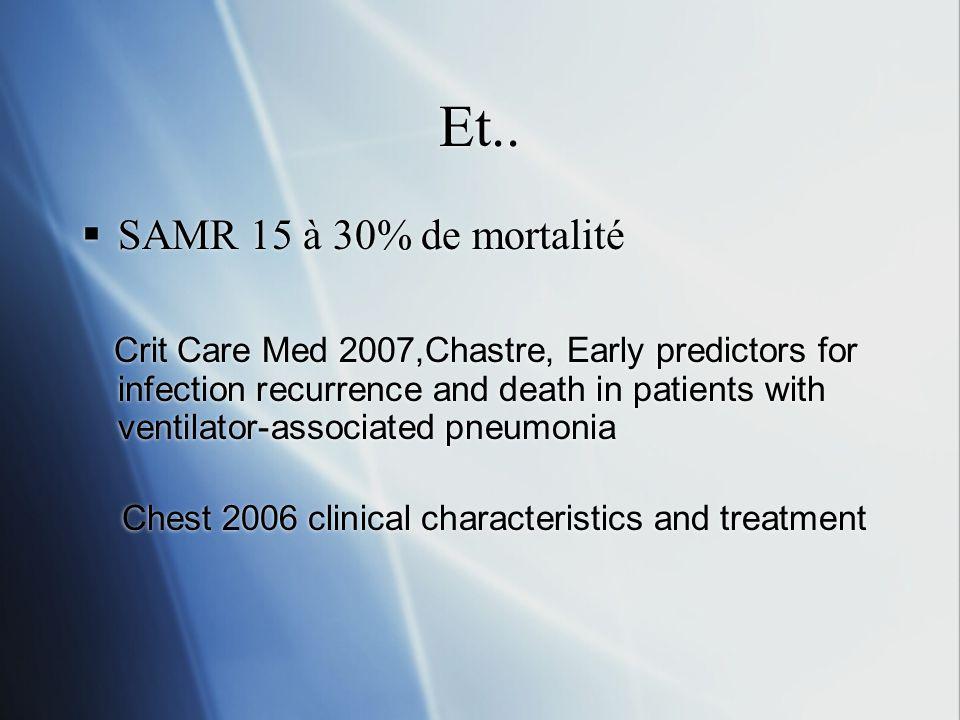 Et.. SAMR 15 à 30% de mortalité.