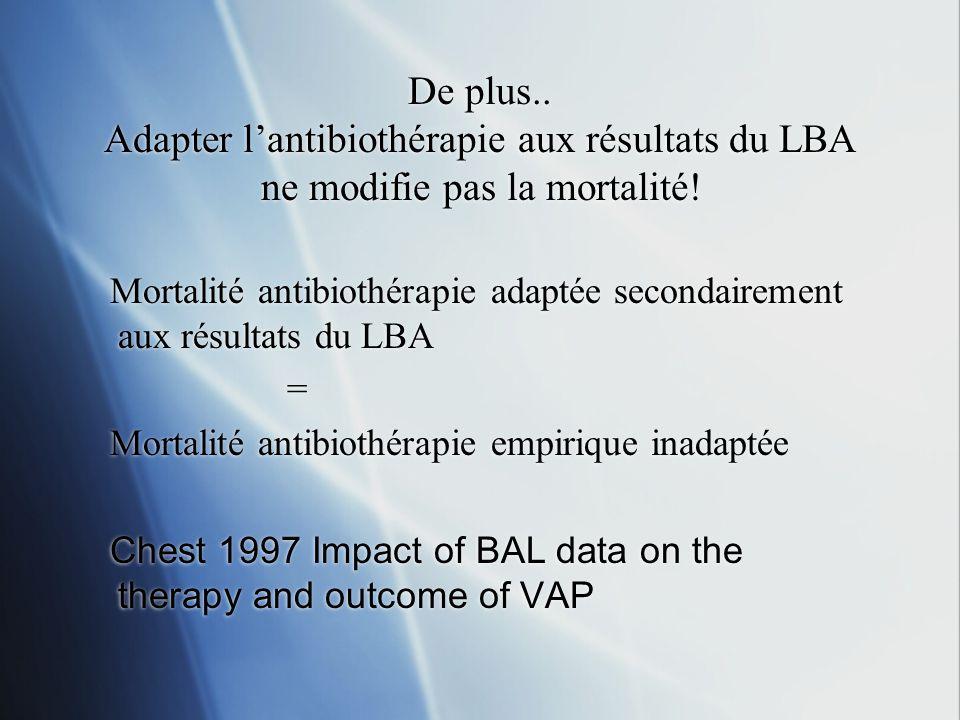 De plus.. Adapter l'antibiothérapie aux résultats du LBA ne modifie pas la mortalité!