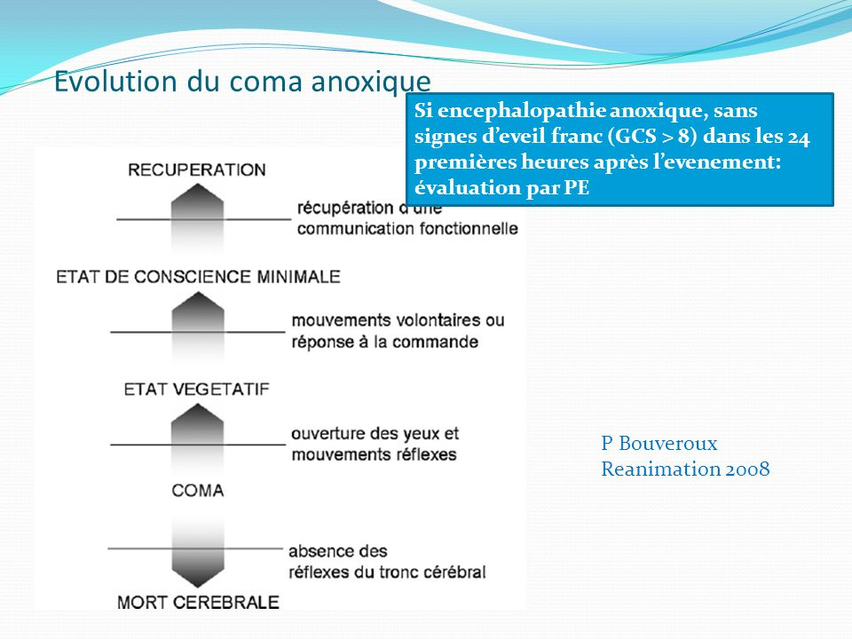 Evolution du coma anoxique