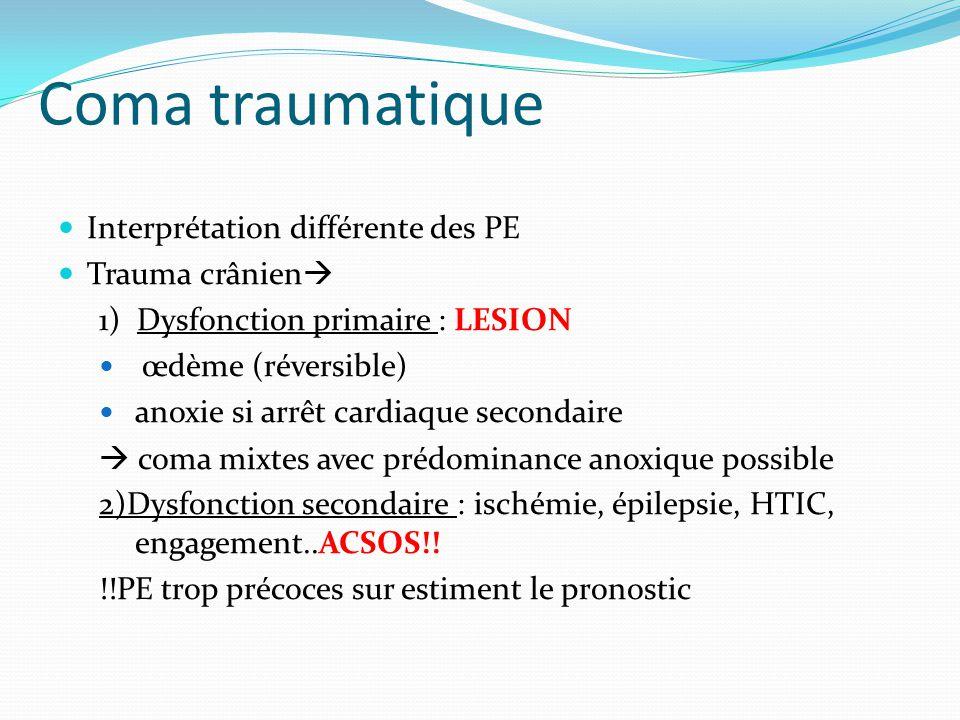 Coma traumatique Interprétation différente des PE Trauma crânien