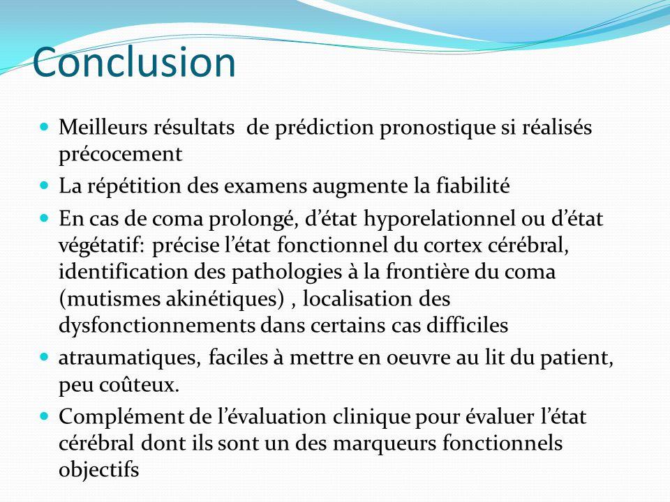 Conclusion Meilleurs résultats de prédiction pronostique si réalisés précocement. La répétition des examens augmente la fiabilité.