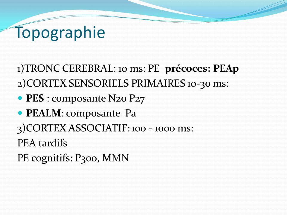 Topographie 1)TRONC CEREBRAL: 10 ms: PE précoces: PEAp