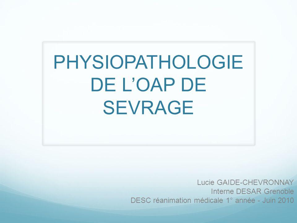 PHYSIOPATHOLOGIE DE L'OAP DE SEVRAGE