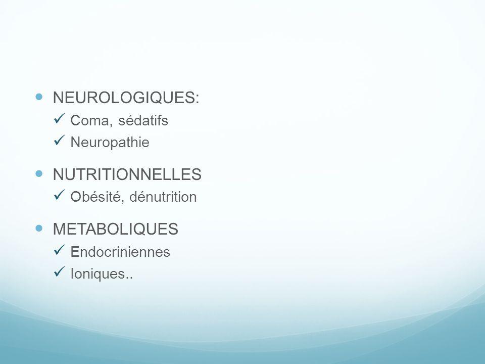 NEUROLOGIQUES: NUTRITIONNELLES METABOLIQUES Coma, sédatifs Neuropathie