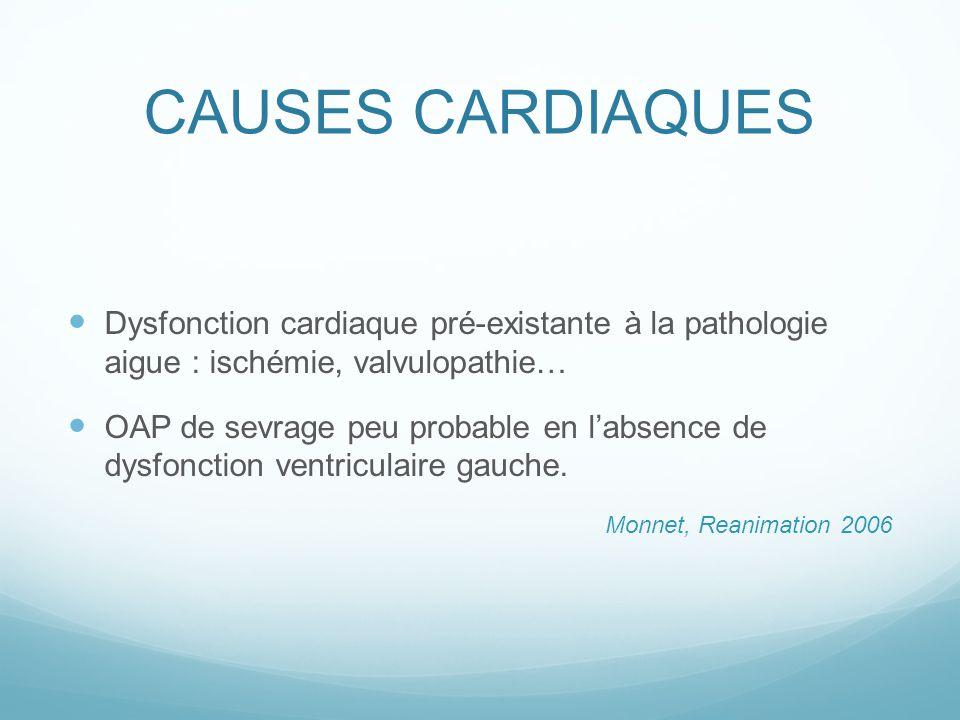 CAUSES CARDIAQUES Dysfonction cardiaque pré-existante à la pathologie aigue : ischémie, valvulopathie…