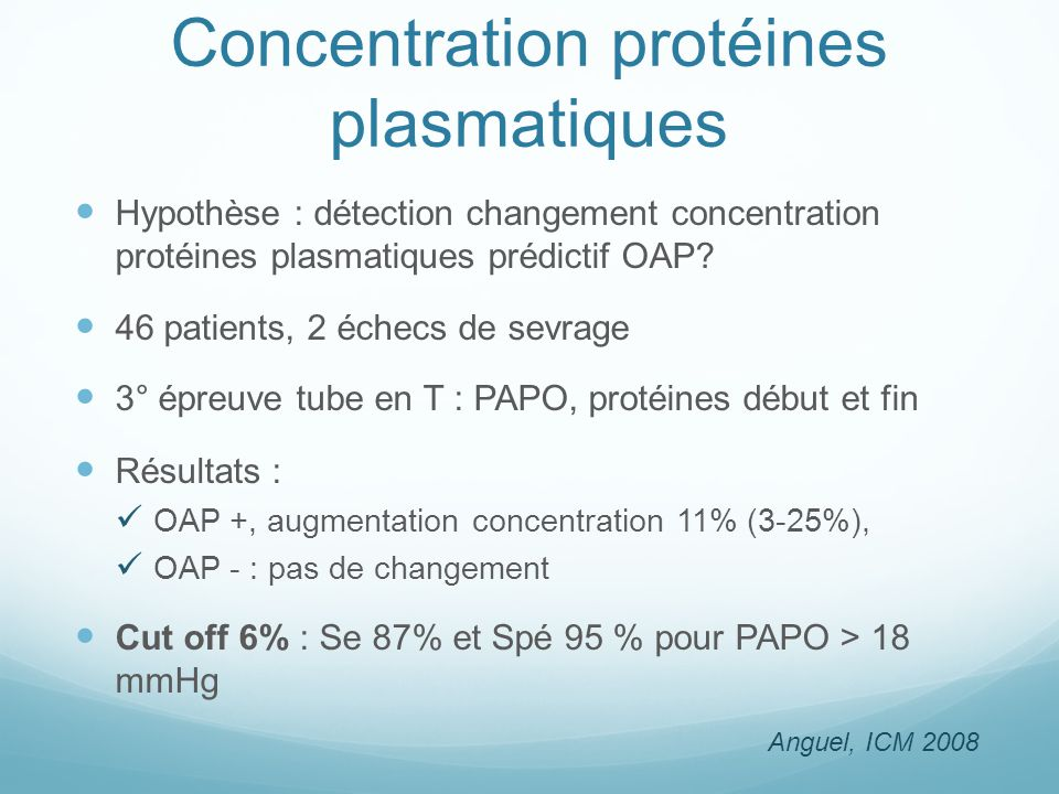 Concentration protéines plasmatiques