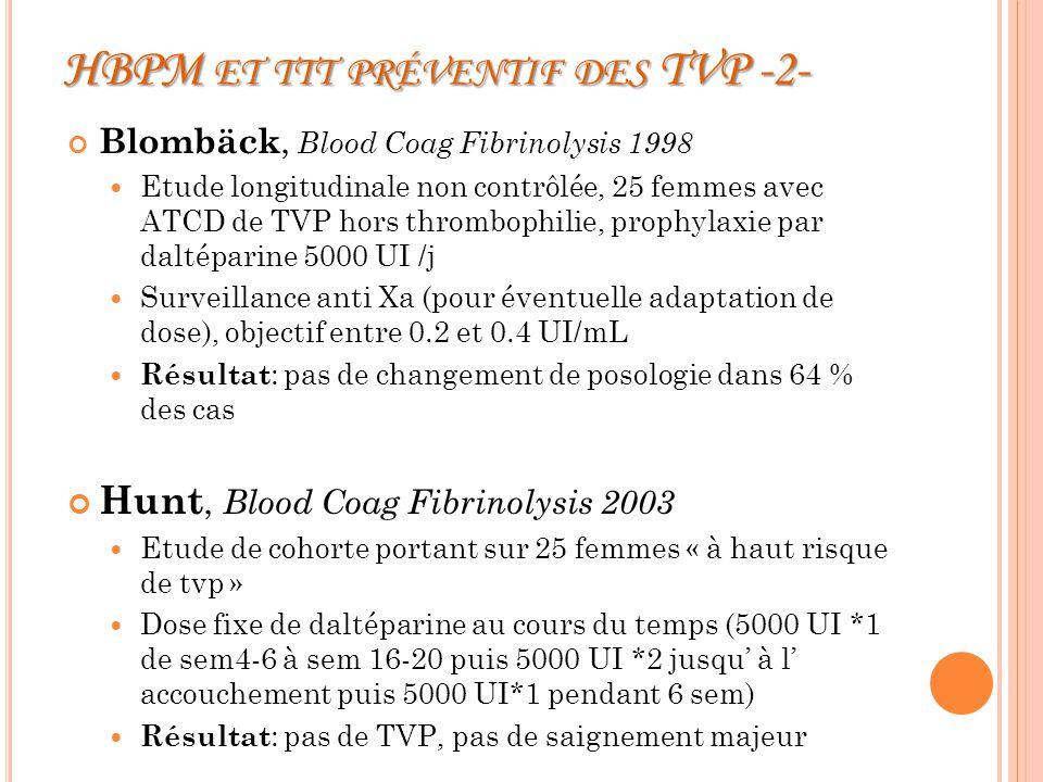 HBPM et ttt préventif des TVP -2-