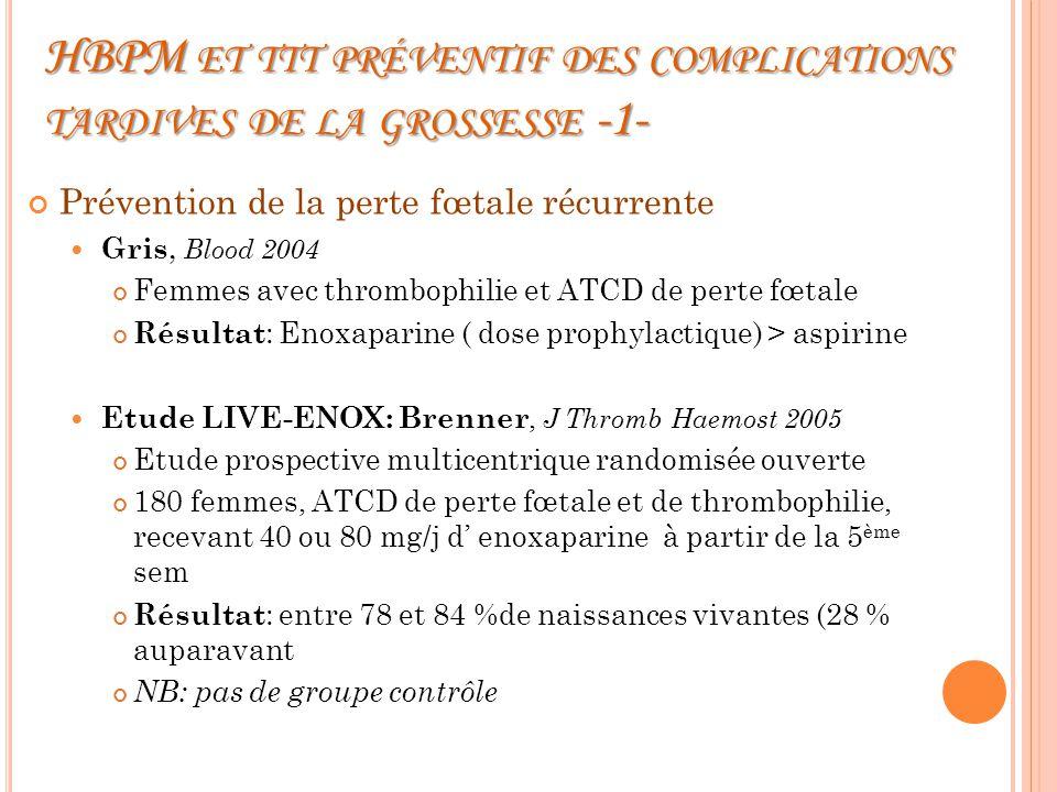 HBPM et ttt préventif des complications tardives de la grossesse -1-