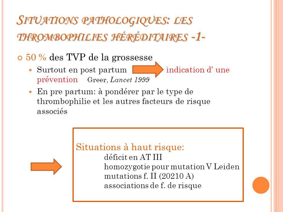 Situations pathologiques: les thrombophilies héréditaires -1-