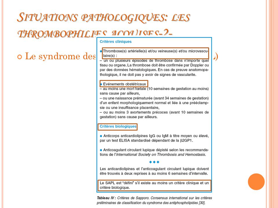Situations pathologiques: les thrombophilies acquises-2-