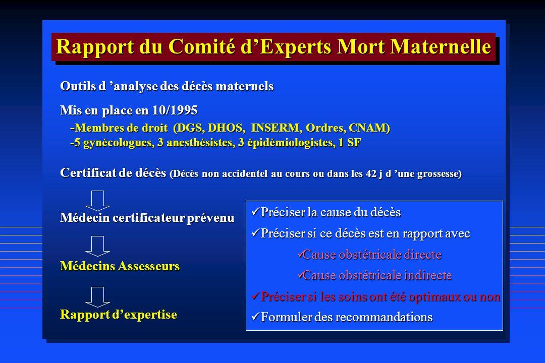 Rapport du Comité d'Experts Mort Maternelle