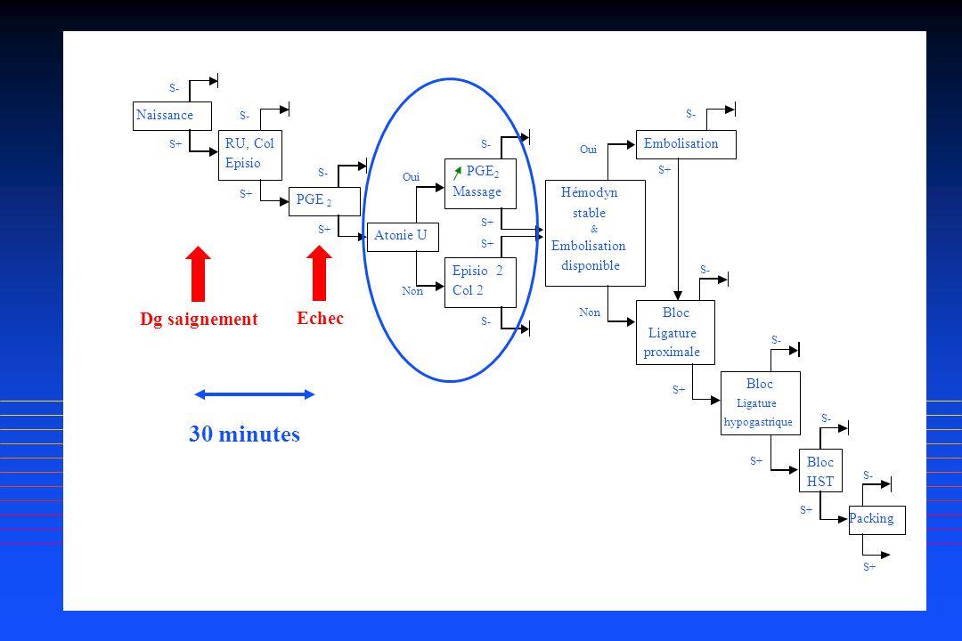 30 minutes Dg saignement Echec Naissance RU, Col Embolisation Episio