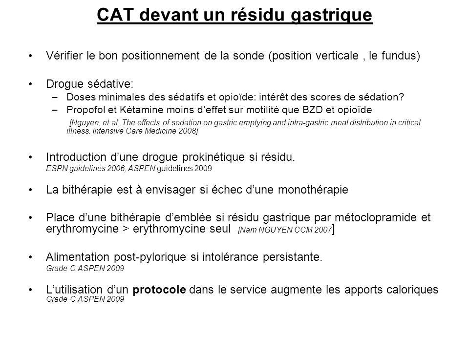 CAT devant un résidu gastrique
