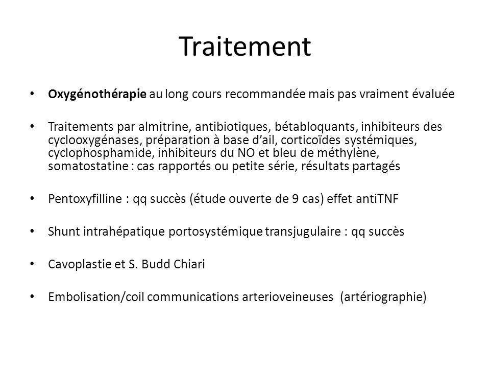 Traitement Oxygénothérapie au long cours recommandée mais pas vraiment évaluée.