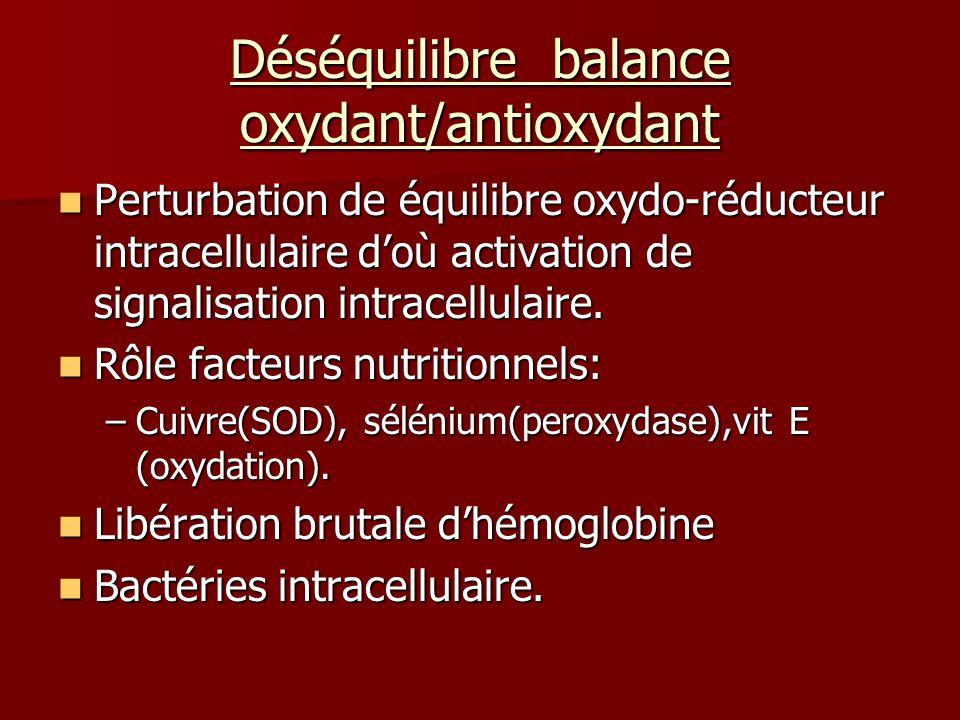 Déséquilibre balance oxydant/antioxydant