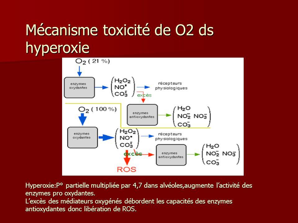 Mécanisme toxicité de O2 ds hyperoxie Hyperoxie:P° partielle multipliée par 4,7 dans alvéoles,augmente l'activité des enzymes pro oxydantes.