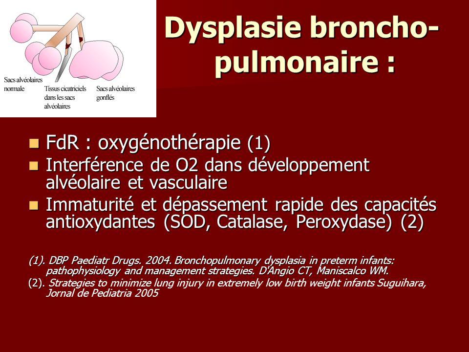 Dysplasie broncho- pulmonaire :