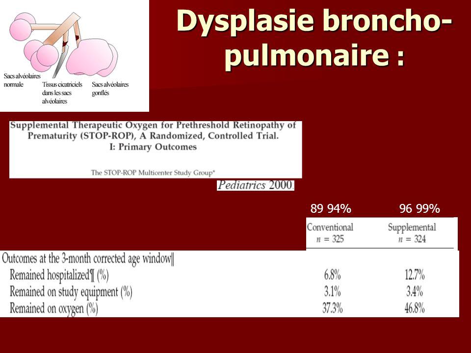 Dysplasie broncho-pulmonaire :