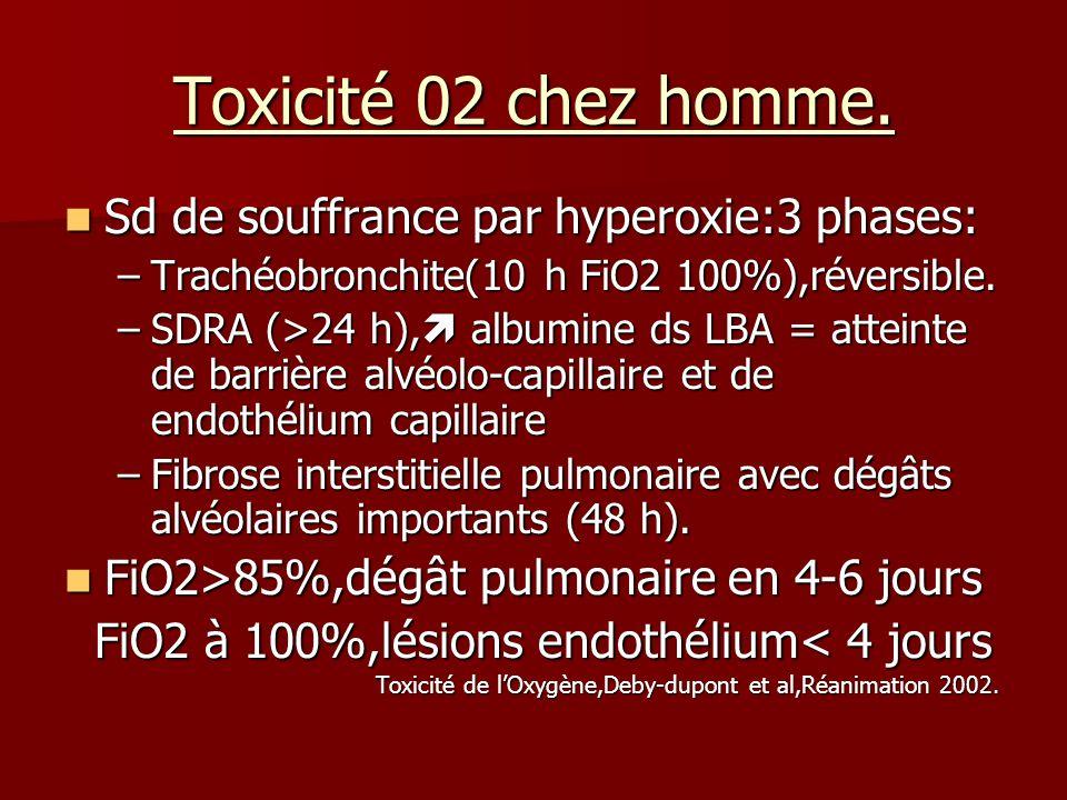 Toxicité 02 chez homme. Sd de souffrance par hyperoxie:3 phases: