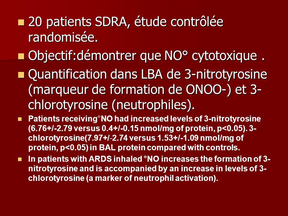 20 patients SDRA, étude contrôlée randomisée.